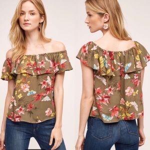 MAEVE | Anthro Green Floral Vallita Ruffle Blouse